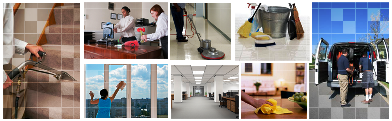 Several Janitorial Images In A Colage